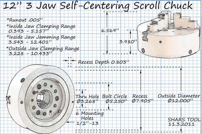 ".0005/"" TIR Certificate NEW 8/"" 3 Jaw Adjustable Self Centering Lathe Chuck"