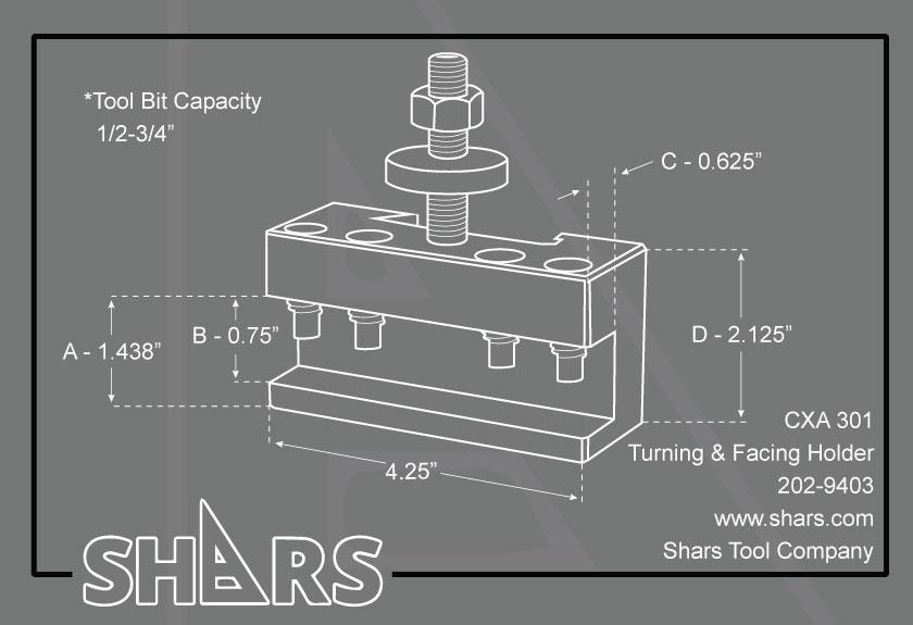 "SHARS 13-18/"" CXA Quick Change Tool Post Boring Turning Facing Holder #2 250-302"