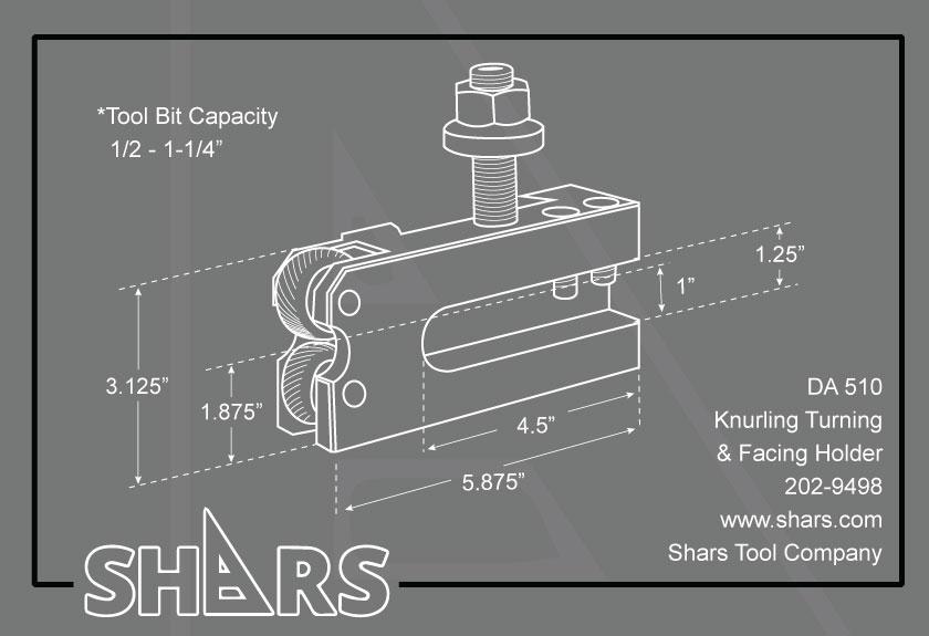 SHARS 17-48 DA Quick Change Post Knurling Turning /& Facing Holder #10 250-510 New 202-9498 S}