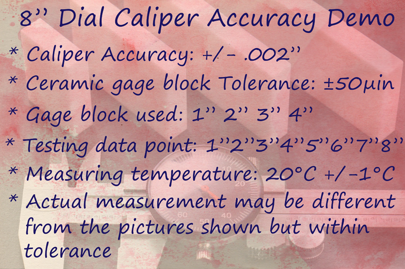 "8/"" DIAL CALIPER SHOCK PROOF .001/"" STAINLESS 4 WAY BLACK FACE Inspection Report A"