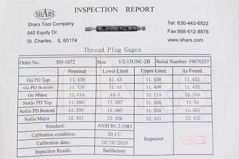 SHARS 1//4-20 UNC GO NO-GO THREAD RING GAGE 2PCS SET NEW