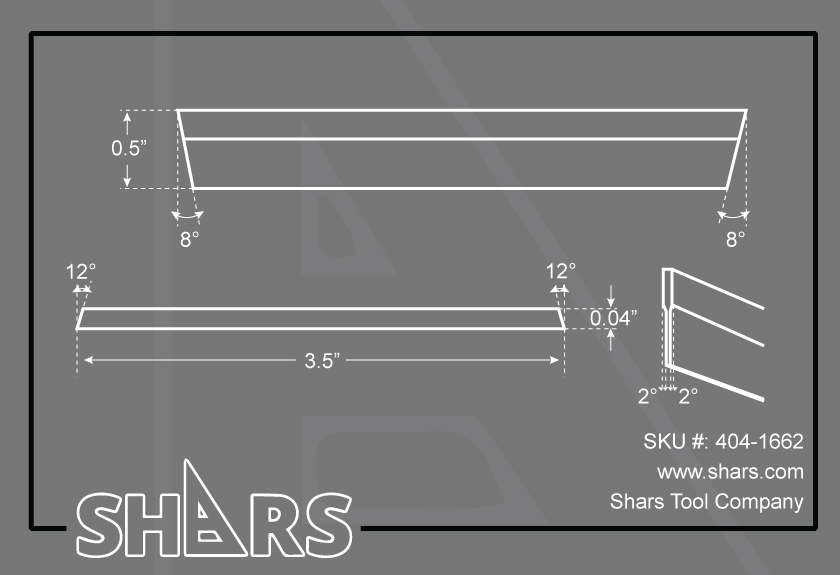 "SHARS B Type 3//16/"" x 7//8/"" x 6/"" HSS Cut-off CutOff Cut Off Parting Blade New"