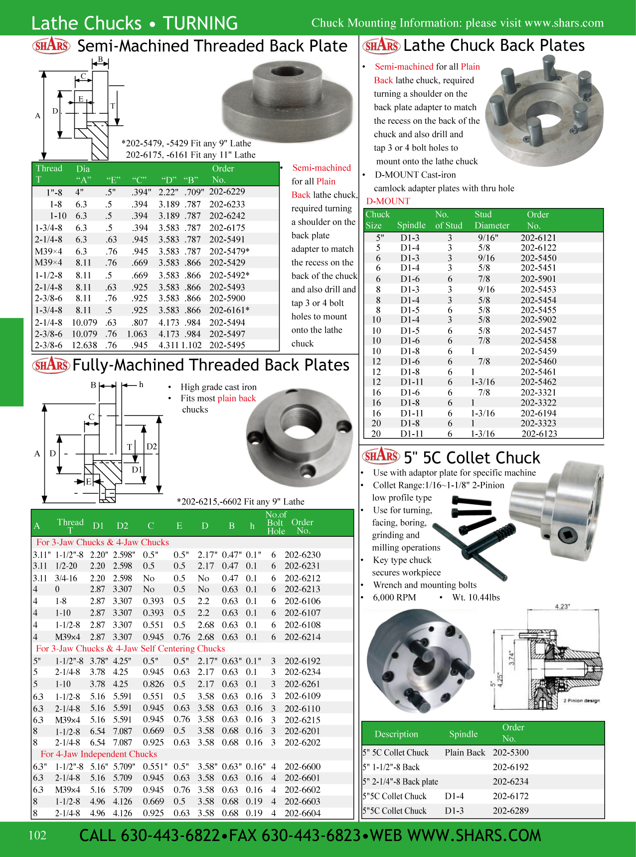 """6"""" 4 JAW INDEPENDENT LATHE CHUCK WITH 1-1/2-8 TPI THREADED"""