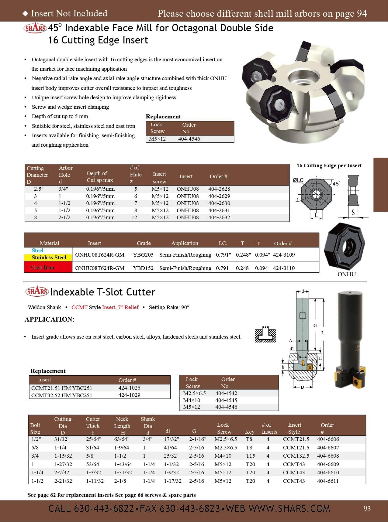 "Shars 1-1//4/"" Indexable T Slot Milling Cutter CCMT Insert 1-1//4 Weldon Shank New"