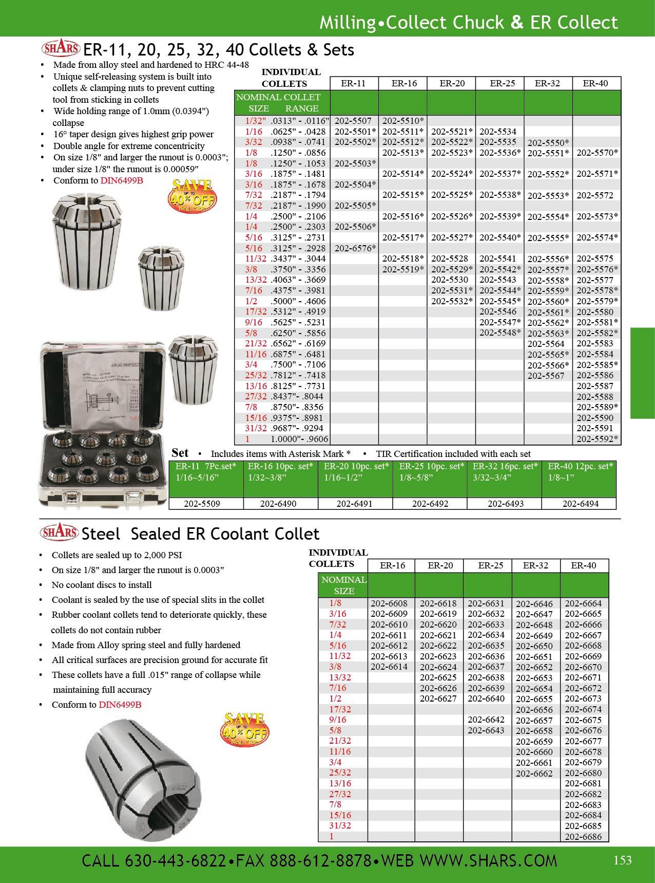 """Shars CNC Precision Ground Collets ER-20 Size 1//16/"""" DIN 6499//B ER20 New"""