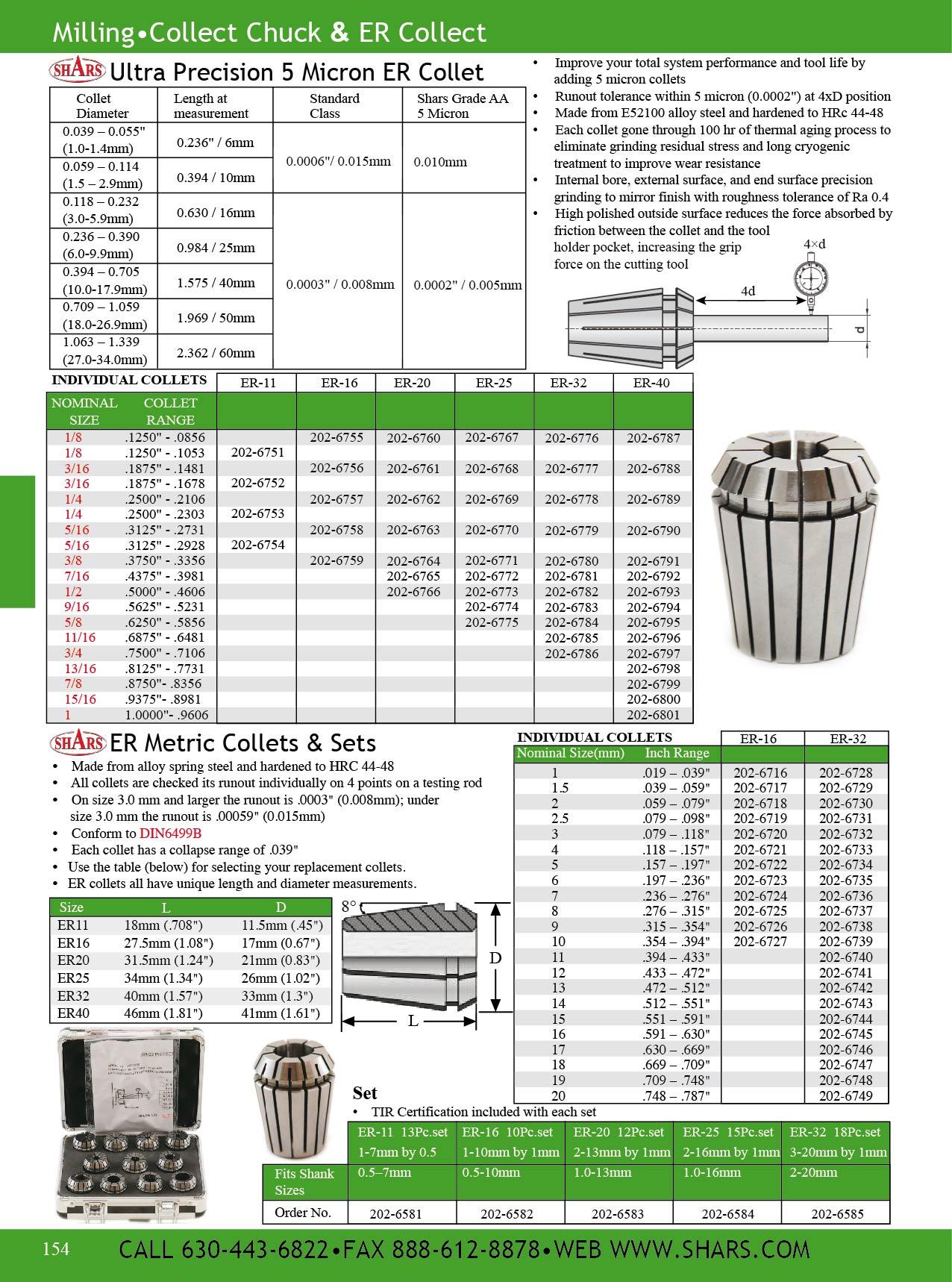 """Shars CNC Precision Ground Collets ER-40 Size 5//8/"""" DIN 6499//B ER40 New"""
