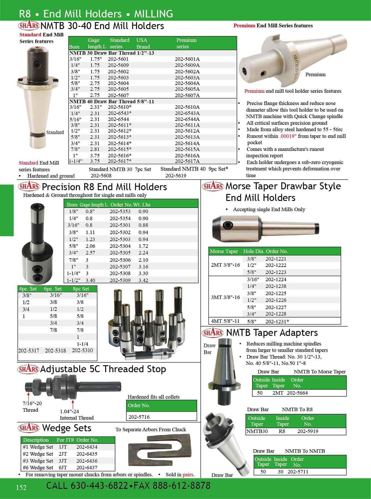 SHARS Precision R8 END Mill Tool Holder 8 PC Set 202-5310 R