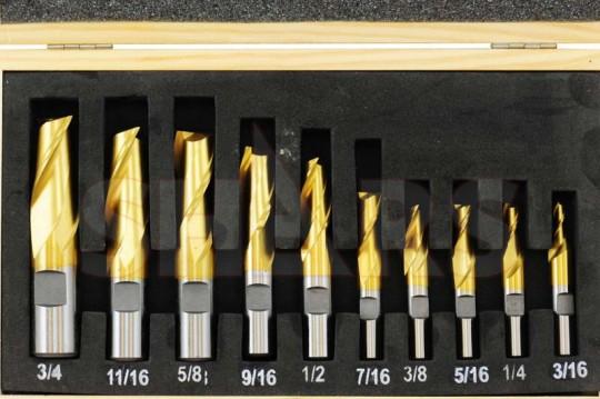 10 PC HSS 4 Flute End Mill Set Tin Coated Single End Shank Mills Sz 3//16/'/'-3//4/'/'