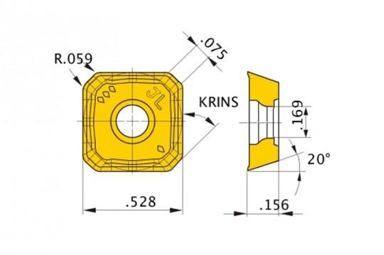 Round Honing Square Pack of 10 Class M Mitsubishi Materials SEET13T3AGEN-JL VP15TF Coated Carbide Milling Insert 0.059 Corner Radius